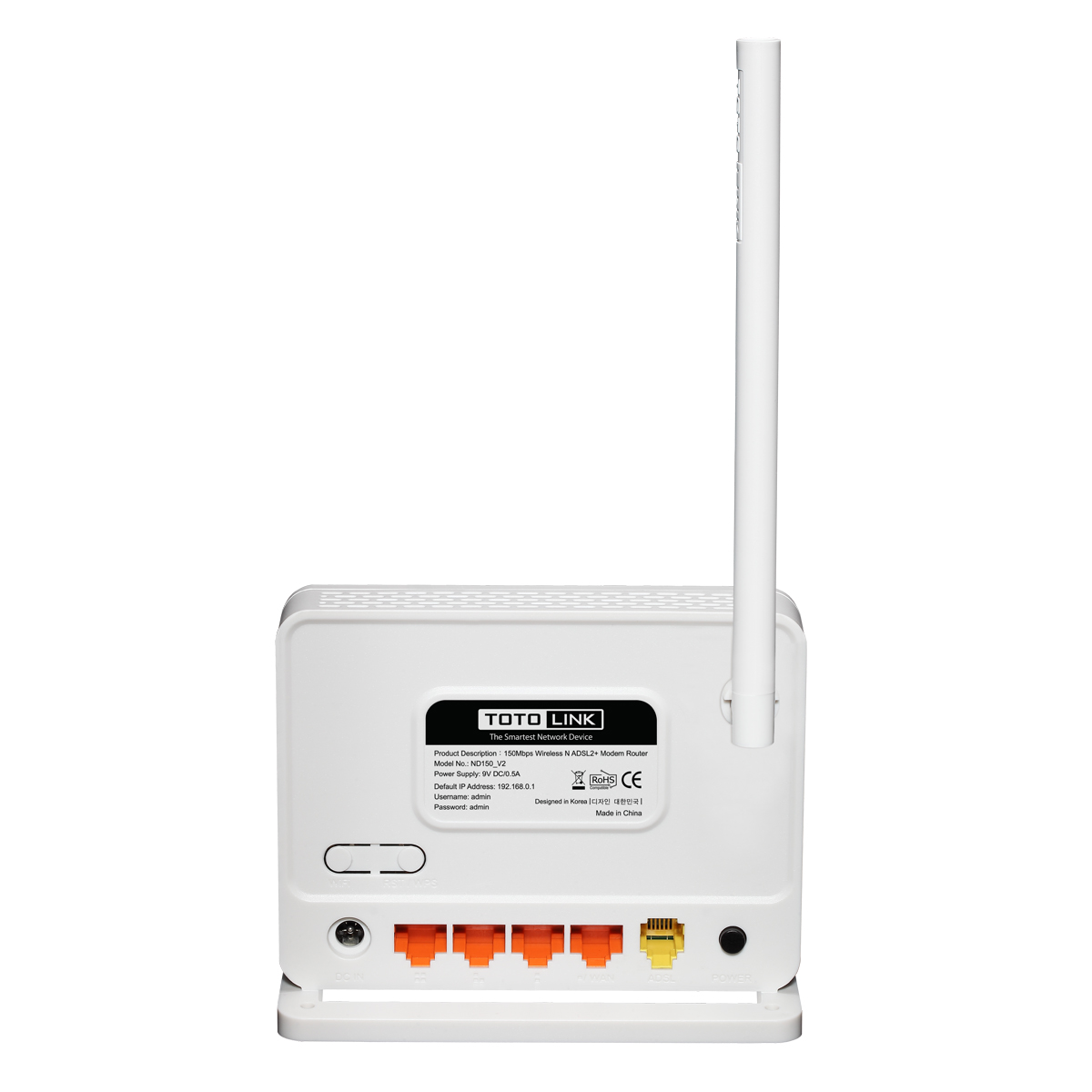 TotoLink ND150 150Mbps Wireless N ADSL 2/2+ Modem Router - Lisconet